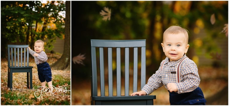 1 year old boy outside in the fall