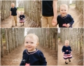 1 year old girl walking with brother smiling in the trees